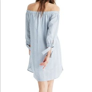 Madewell Blue And White Striped Off Shoulder Dress